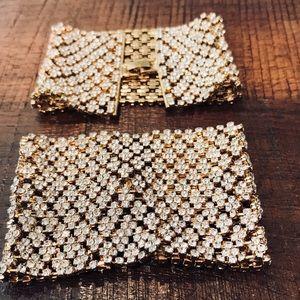 Bebe Luxury Gold White Stone Soft Cuff Bracelet